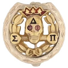 Delta Sigma Pi Badge - 10k Yellow Gold Business Fraternity Skull Pin