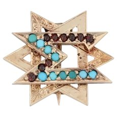 1800s Delta Sigma Delta Badge - 14k Gold Glass Garnet Dentist Fraternity Pin