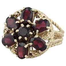 3.50ctw Garnet Flower Cocktail Ring - 14k Yellow Gold Size 7 Floral January