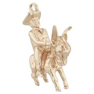 Man Riding Burro Charm - 14k Rose Gold Figural Donkey Mexico Souvenir 3D