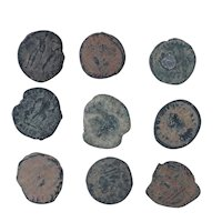 Ancient Coins Mixed Figural Roman Artifacts Lot of 9 B10006