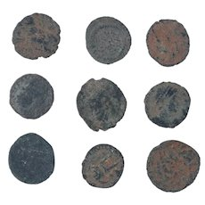 Ancient Coins Mixed Figural Roman Artifacts Lot of 9 B10009