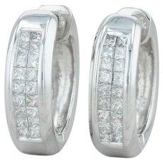 1ctw Diamond Huggie Earrings - 14k White Gold Pierced Hinged Hoops