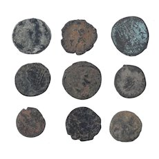 Ancient Coins Mixed Figural Roman Artifacts Lot of 9 B10010