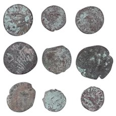 Ancient Coins Mixed Figural Roman Artifacts Lot of 9 B10011