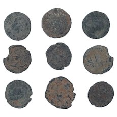 Ancient Coins Mixed Figural Roman Artifacts Lot of 9 B10016