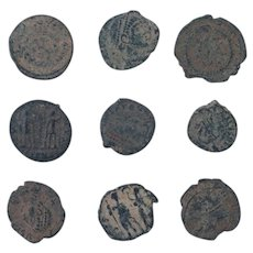 Ancient Coins Mixed Figural Roman Artifacts Lot of 9 B10018
