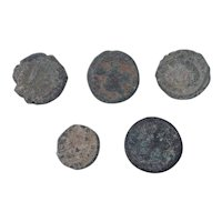 Ancient Coins Mixed Figural Roman Artifacts Lot of 5 B10024