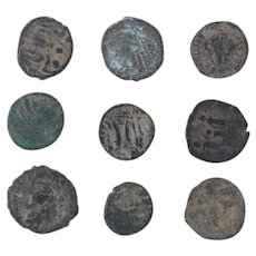 Ancient Coins Mixed Figural Roman Artifacts Lot of 9 B10028