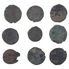 Ancient Coins Mixed Figural Roman Artifacts Lot of 9 B10029