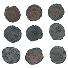 Ancient Coins Mixed Figural Roman Artifacts Lot of 9 B10030