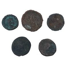 Ancient Coins Mixed Figural Roman Artifacts Lot of 5 B10040