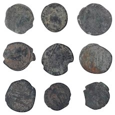 Ancient Coins Mixed Figural Roman Artifacts Lot of 9 B10048