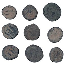 Ancient Coins Mixed Figural Roman Artifacts Lot of 9 B10049