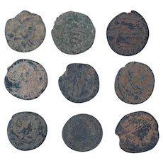 Ancient Coins Mixed Figural Roman Artifacts Lot of 9 B10050