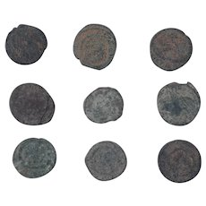 Ancient Coins Mixed Figural Roman Artifacts Lot of 9 B10051