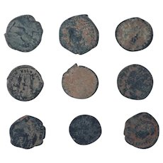 Ancient Coins Mixed Figural Roman Artifacts Lot of 9 B10052