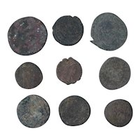 Ancient Coins Mixed Figural Roman Artifacts Lot of 9 B10054