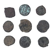 Ancient Coins Mixed Figural Roman Artifacts Lot of 9 B10061