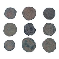 Ancient Coins Mixed Figural Roman Artifacts Lot of 9 B10064