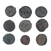 Ancient Coins Mixed Figural Roman Artifacts Lot of 9 B10067