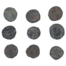 Ancient Coins Mixed Figural Roman Artifacts Lot of 9 B10082