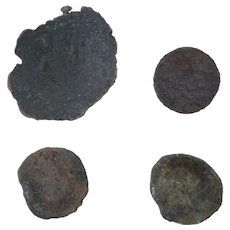 Ancient Coins Mixed Figural Roman Artifacts Lot of 4 B10089