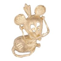 Mouse with Glasses Pendant 14k Yellow Gold Cute Animal Jewelry
