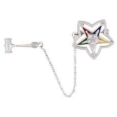 Order of the Eastern Star Pin Gavel Guard 14k White Gold Masonic Women's Badge