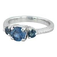 1.50ctw Blue Sapphire 3-Stone Ring - 14k White Gold Sz 7.5 Wheat Band Engagement