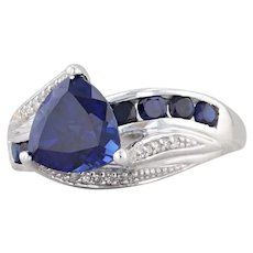 2.77ctw Synthetic Blue Sapphire Diamond Ring 10k Gold Size 8 Trillion Solitaire