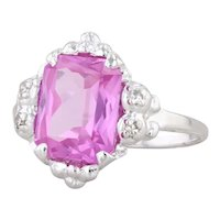 3.63ctw Pink Synthetic Sapphire Diamond 10k White Gold Size 7.25 Emerald Cut