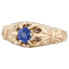 Vintage Synthetic Sapphire Ring 14k Yellow Gold Size 7.25 Ornate Solitaire