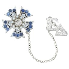 Sigma Nu Mini Sweetheart Badge - 14k White Gold Pearls Sapphires Fraternity Pin