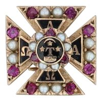 Alpha Tau Omega Badge - 10k Gold Rubies Pearls Pins Fraternity Cross Pin