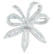 1.41 ctw Diamond Flower Brooch - 14k White Gold Statement Pin Floral