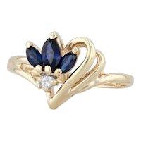 0.51ctw Blue Sapphire Diamond Heart Ring 14k Yellow Gold Size 6.25 3-Stone