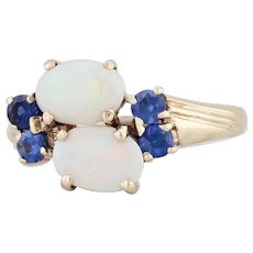 Vintage Opal Synthetic Sapphire Ring 10k Yellow Gold Size 6.25