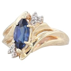 1.70ct Marquise Synthetic Sapphire Bypass Ring 10k Gold Sz 7.25 Diamond Accents
