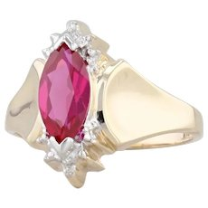 1.55ct Synthetic Ruby Ring 10k Yellow Gold Size 7 Marquise with Diamond Accents