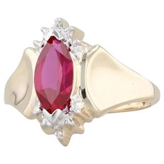 Synthetic Ruby 1.38ct Marquise Ring 10k Yellow Gold Size 7 Diamond Accents