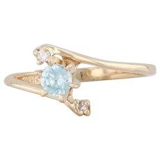 0.38ctw Blue Zircon Diamond Bypass Ring 14k Yellow Gold Sz 6.25 Round Engagement
