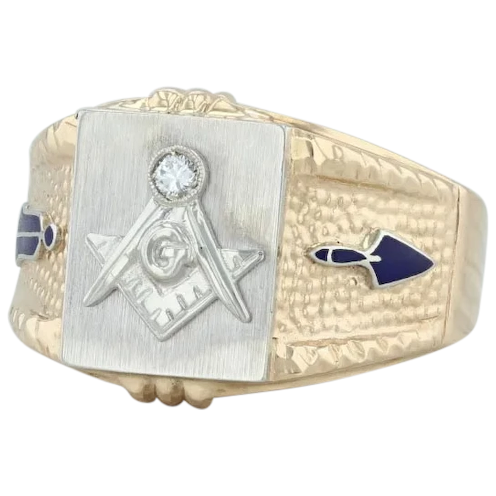Square /& Compass ~ Blue Masonic Ring Silver /& Gold ~ Size 10 ~ Free Shipping