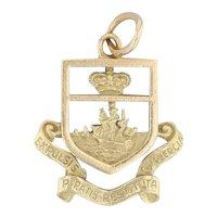 Antique Flag of the Bahamas Charm 18k Yellow Gold Souvenir Pendant