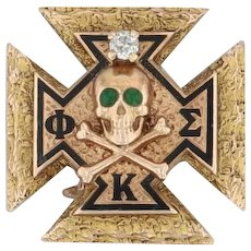 Phi Kappa Sigma Badge - 14k Yellow Gold Glass Fraternity Skull Cross Pin