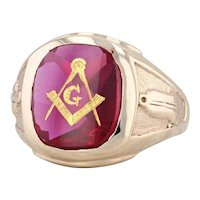 Vintage Synthetic Ruby Masonic Ring 10k Yellow Gold Size 9.75 Blue Lodge Signet