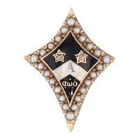 Kappa Alpha Theta Badge 14k Gold Pearls Diamonds Vintage 1942 Fraternity Pin