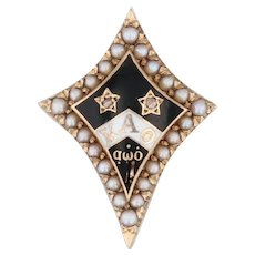 Kappa Alpha Theta Badge 14k Gold Pearls Diamonds Vintage 1942 Fraternity Pin