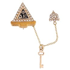 Delta Phi Epsilon Fraternity Pin 10k Gold Pearls Greek Society Badge