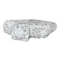 .41ctw Diamond Engagement Ring - 14k White Gold Size 5.25 3-Stone Vintage